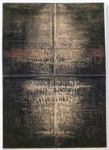 BUSCARINO CANOSBURI - Sillabario, 1997, olio e pigmenti su carta foderata su tela, 75x53cm