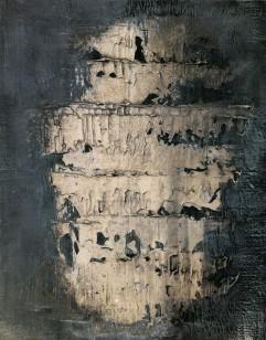 BUSCARINO CANOSBURI - Sillabario, 1997, tempera olio pigmenti su tela, 50x39cm