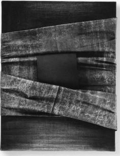 BUSCARINO CANOSBURI - Toconoma nero, 1998, olio su cartoncino e carta intelata su tela, 60x46cm