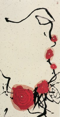 MINJUNG KIM - Predestinazione, 2004, tecnica mista su carta di riso, 140x72cm