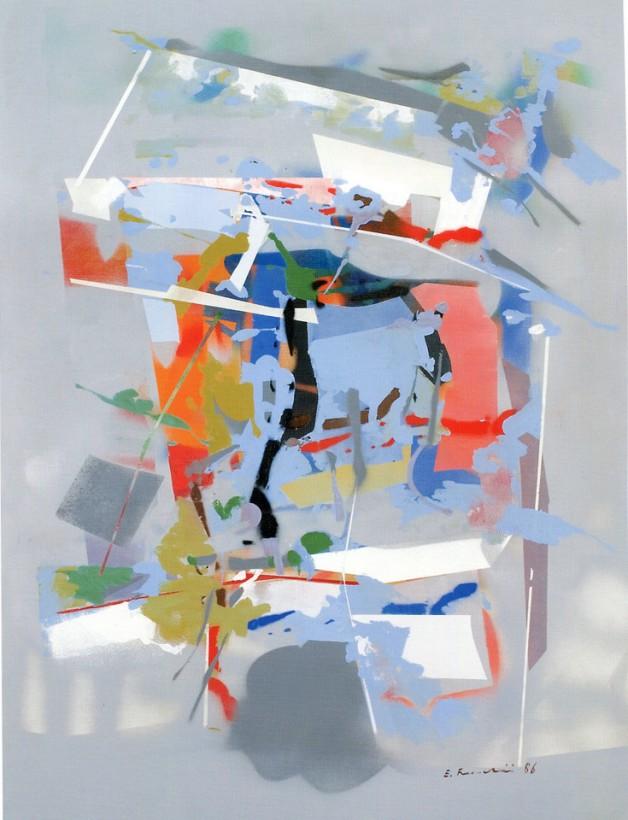 EDOARDO FRANCESCHINI - Senza titolo, 1986, acrilico su tela, 100x80cm