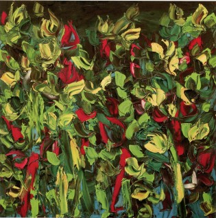 GIANCARLO LIMONI - Giardino su sfondo scuro, 2006, olio su tela, 150x150cm