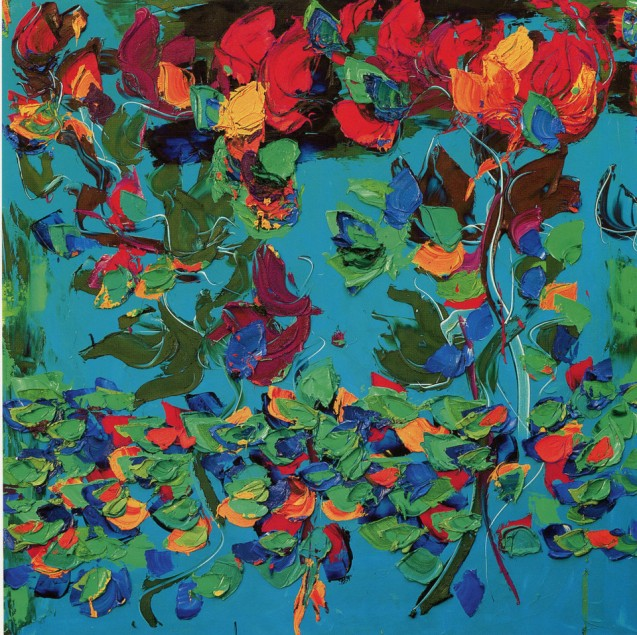 GIANCARLO LIMONI - Dal giardino, 2007, olio su tela, 150x150cm