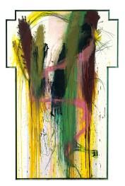 ARNULF RAINER - Croce, 1988-89, Olio e gessetto ad olio su tavola, 186x125cm