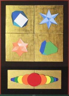LUCIO DEL PEZZO - Dischi cromatici, tecnica mista su tavola, 100x70cm