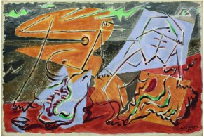 "André Masson, ""Figures et coquillages"", 1930, Olio su tela, 33x55 cm."