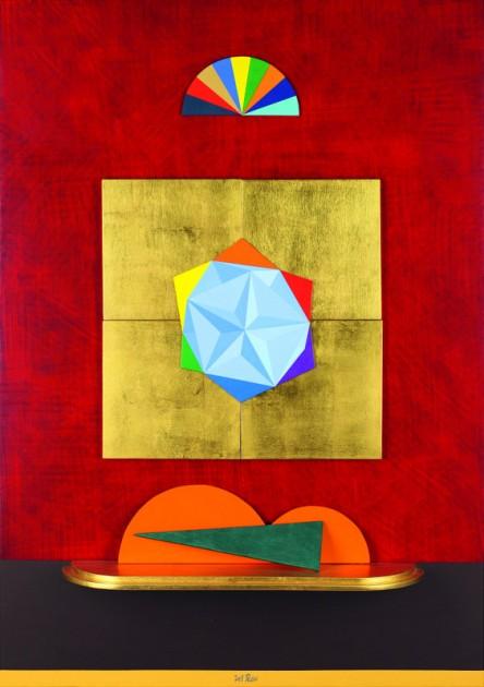 """Lucio Del Pezzo, """"Solido cavo"""", tecnica mista su tavola, 100x70 cm."""
