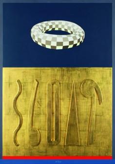 """Lucio Del Pezzo, """"Mazzocco e colori in oro"""", 1994, tecnica mista su tavola, 100x70 cm."""