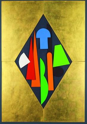 """Lucio Del Pezzo, """"Composizione"""", tecnica mista su tavola, 100x70 cm."""