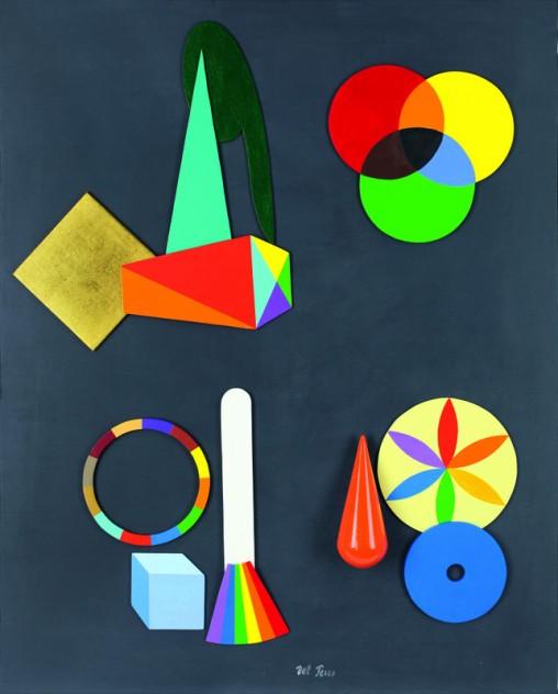 """Lucio Del Pezzo, """"Composizione"""", tecnica mista su tavola, 75x60 cm."""