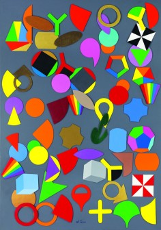 """Lucio Del Pezzo, """"Disseminazione"""", tecnica mista su tavola, 100x70 cm."""