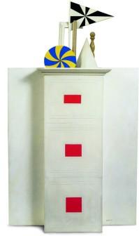 """Lucio Del Pezzo, """"Piccola torre"""", 1963, collage su tavola, 100x62x18 cm."""