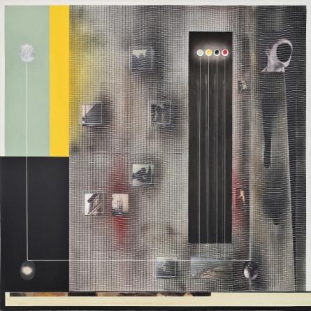 Angelo Cagnone, Abitare la pittura, 2016, tecnica mista su tela, cm 115x 115