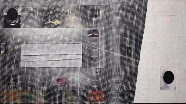 Angelo Cagnone, Il tragitto dell'occhio, 2015, t.m su tela, cm 70 x125